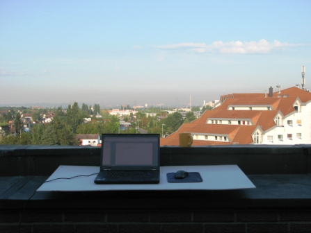 improvised outside summer desk on our rooftop terrace